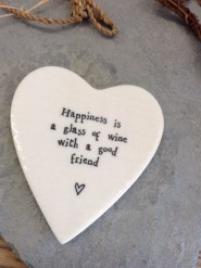 East Of India Happiness Is A Glass Of Wine Porcelain Coaster